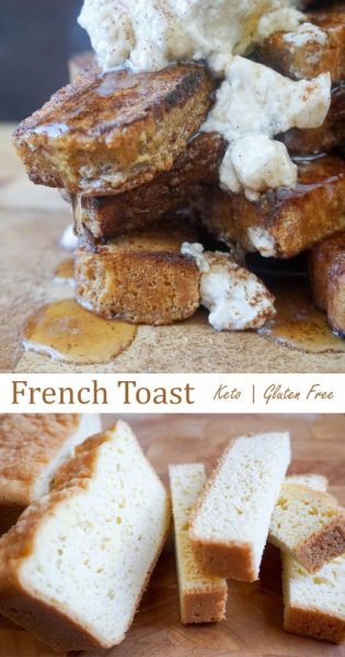 Cinnamon maple low carb french toast sticks.