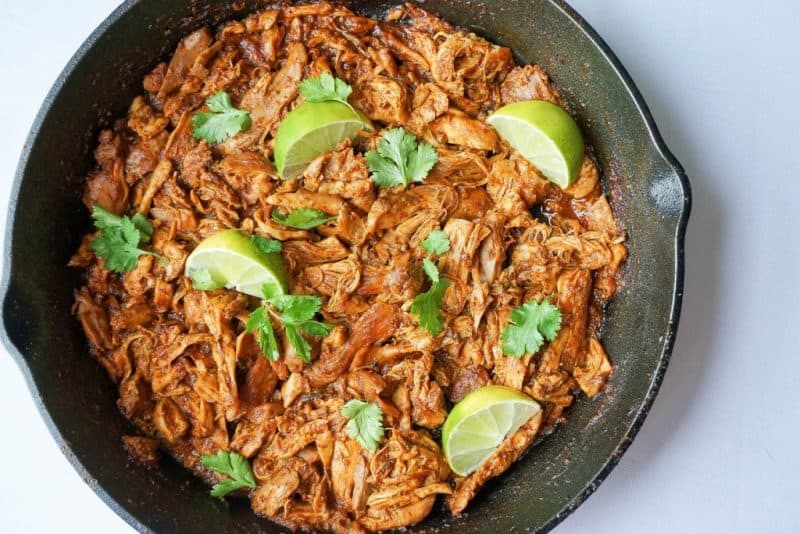 Mexican Shredded chicken is the perfect meat to cook up in a skillet with some lime for keto meal prep!