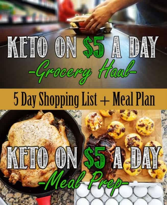 Un modo super semplice di mangiare una dieta chetogenica con $ 5 al giorno. Piano alimentare completo e lista della spesa nel post del blog!