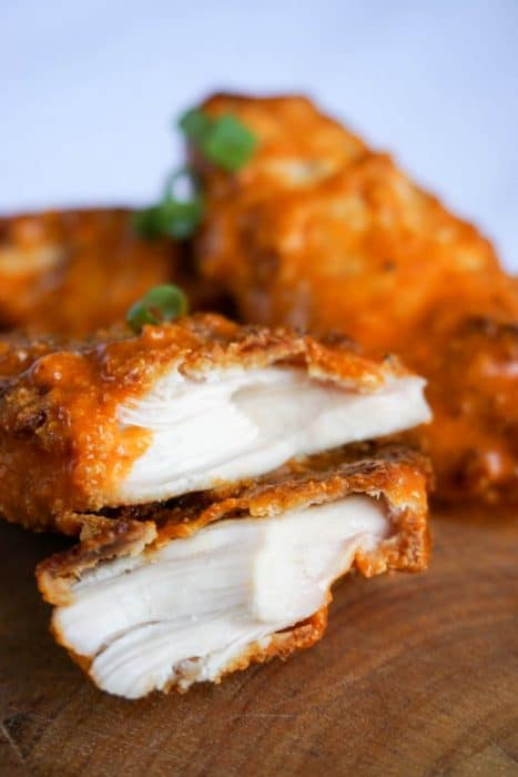 keto chicken tenders with buffalo sauce appetizer