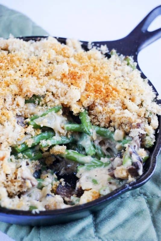 low carb green bean casserole skillet close