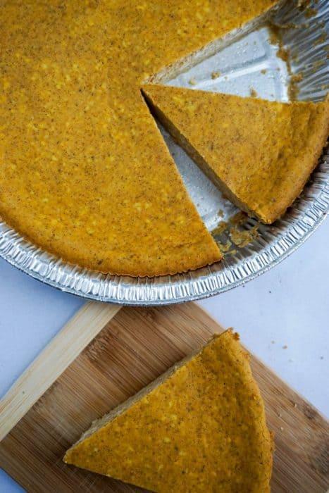 pumpkin pie cheesecake slice board overhead