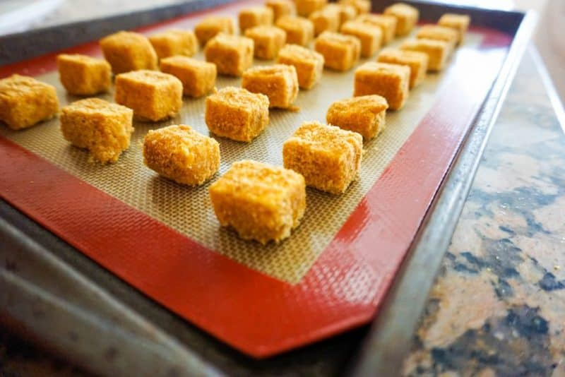 tofu nuggets baking angle