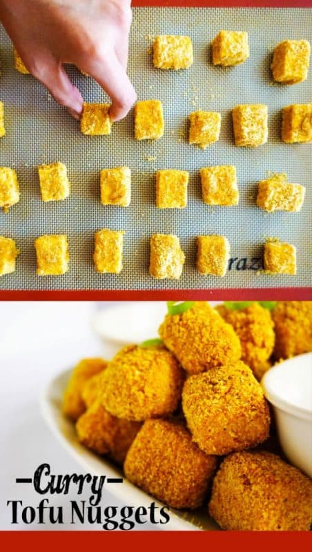 Crunchy, gluten free baked curry tofu nuggets!