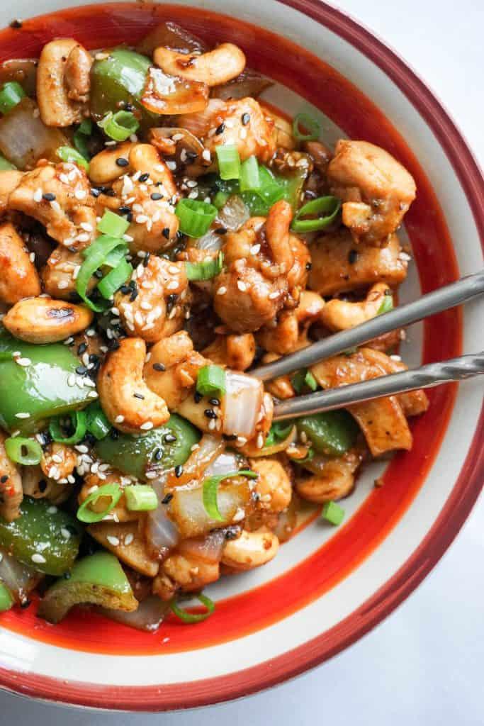 easy cashew chicken vertical chopsticks
