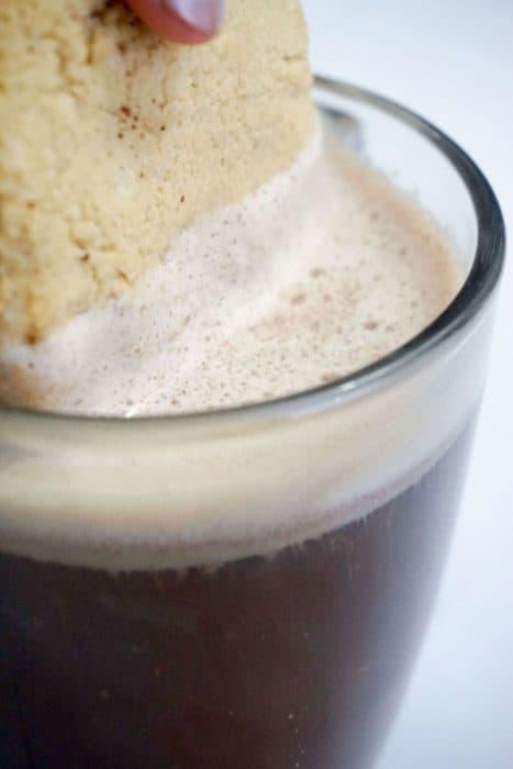 cookie dipped in irish coffee