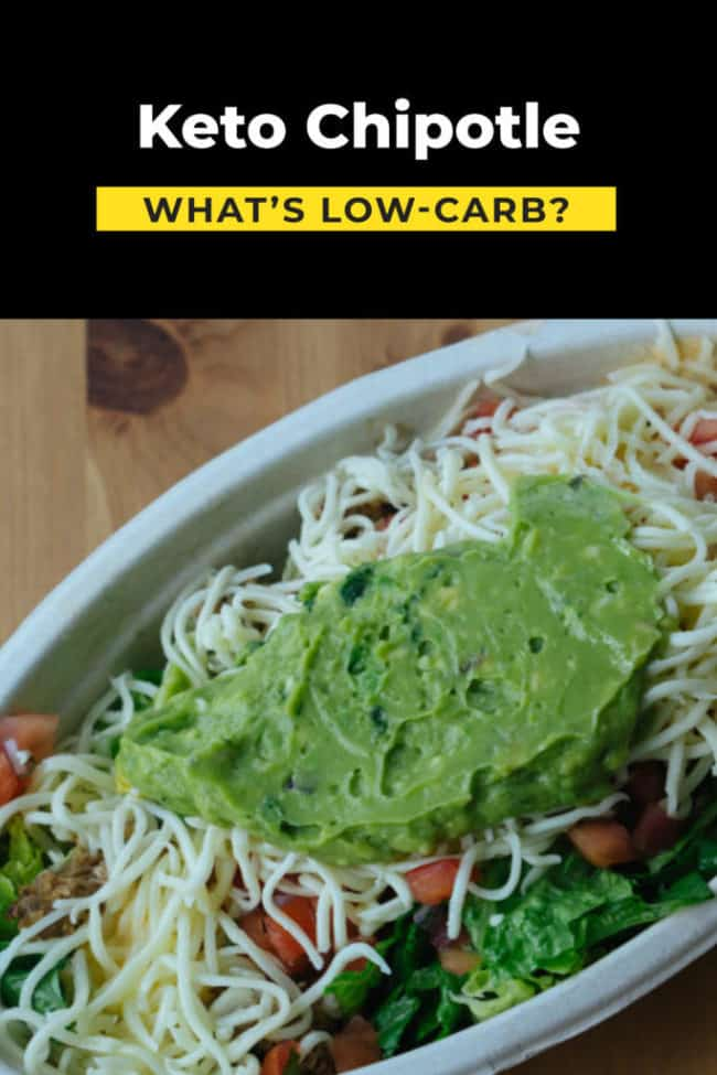 chipotle bowl example for a low carb diet with text above