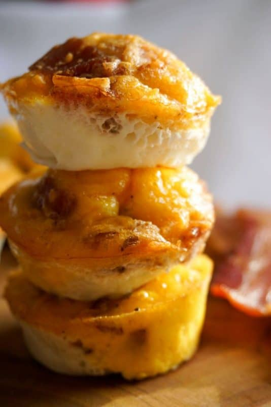 bacon egg cups stacked