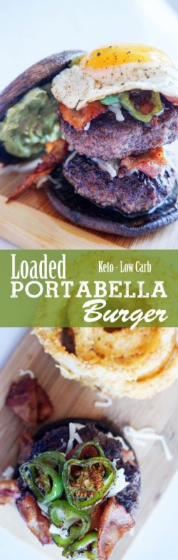 Loaded Jalapeno Burger on a portabella bun - Low Carb!