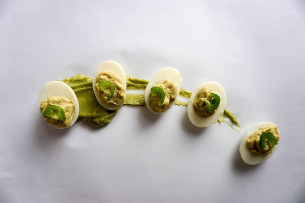 Easy keto Avocado Deviled Eggs! High fat, creamy goodness!
