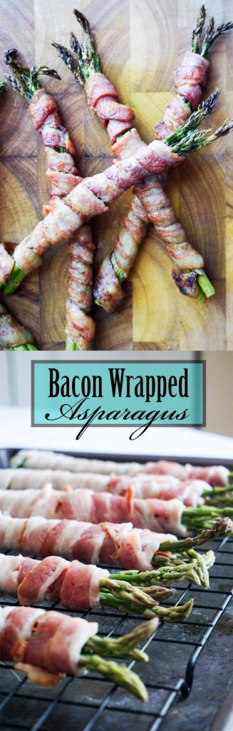 This Simple Keto bacon wrapped asparagus! A bundle of asparagus wrapped in thick cut bacon.