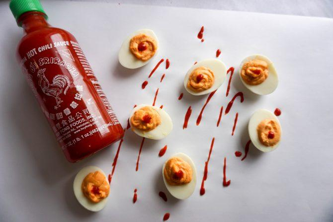 sriracha deviled eggs overhead far