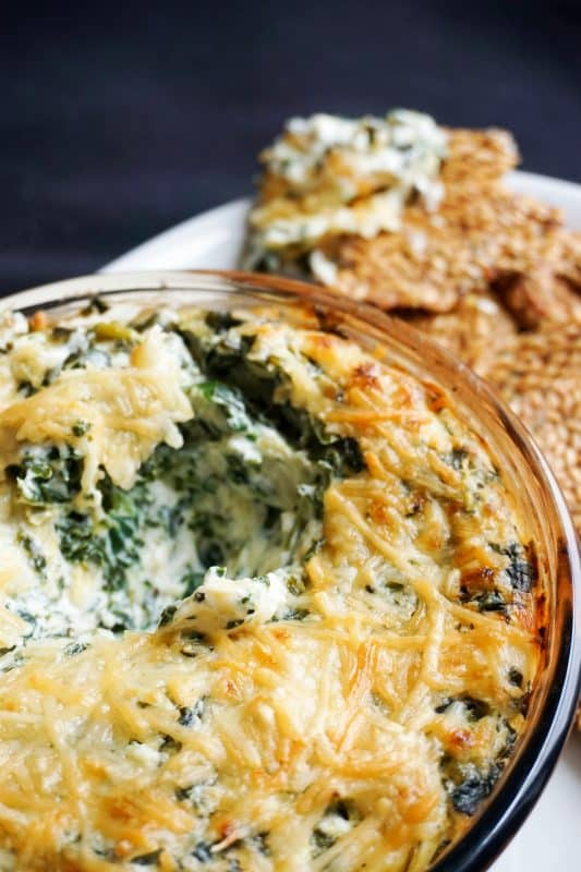easy spinach artichoke dip scooped