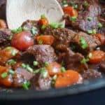 low carb beef stew spoon