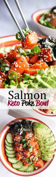 Our Keto Poke Bowl Recipe featuring salmon delicate and falvorful, packed with veggies and fresh, wild caught salmon!