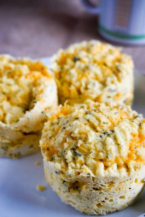low carb biscuits with cheese and herds on a plate