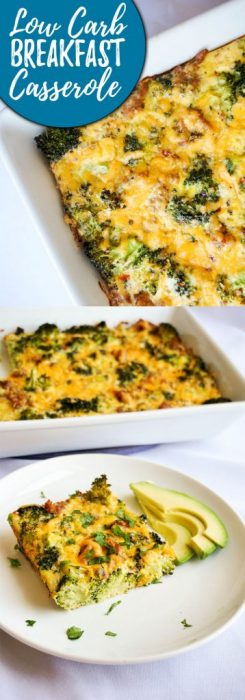 Our Low Carb Breakfast Casserole is jam packed with sausage, broccoli and cheese for  hearty breakfast to keep you going until lunch!