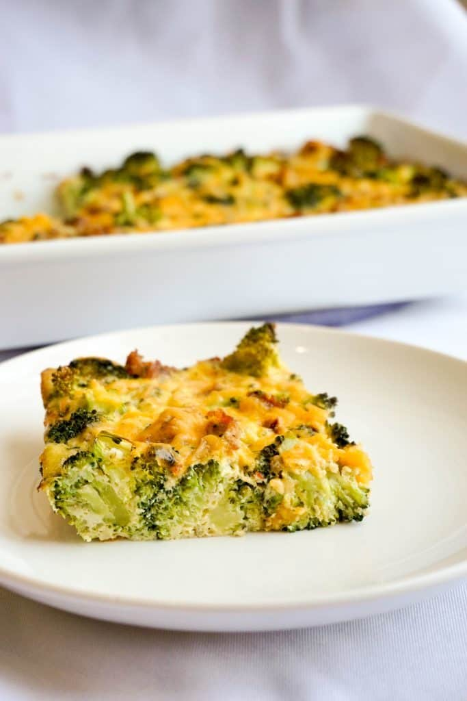 Freshly baked broccoli breakfast casserole ready to serve