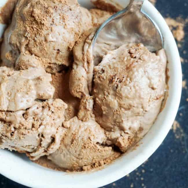 low carb chocolate ice cream overhead
