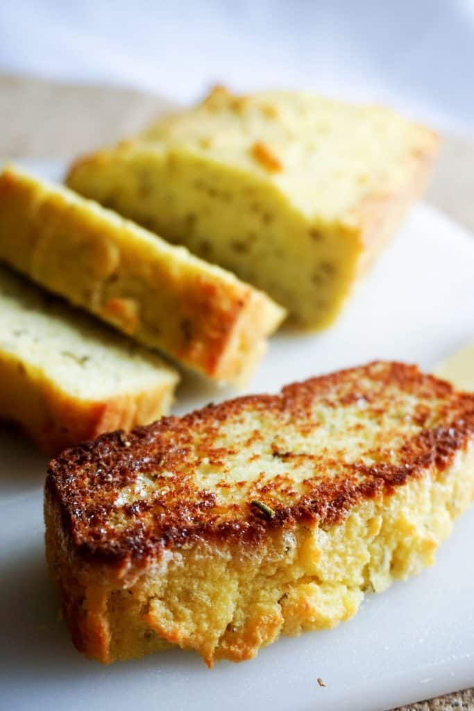 coconut flour bread with a slice toasted