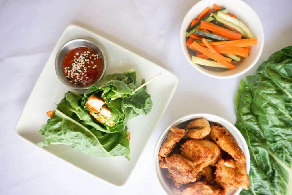 Our Peanut Chicken Lettuce Wraps are made with pickled veggies and peanut butter marinated chicken, great for on the go!