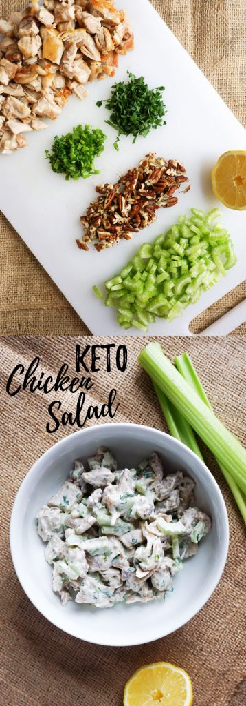 Ou Low Carb Keto Chicken Salad has the perfect chicken to creaminess ratio with crunch from celery and pecans!