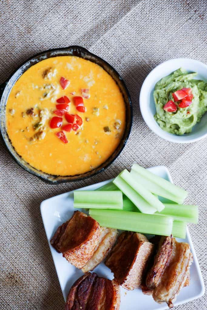 This Easy Queso Dip recipes combines two different, creamy cheeses to make the perfect low carb appetizer for your next game day! It is the perfect keto dip!