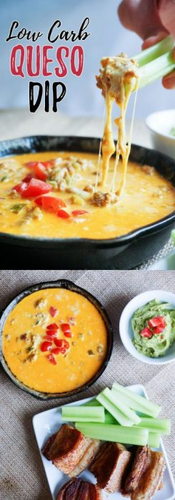 This Easy Queso Dip recipes combines two different, creamy cheeses to make the perfect low carb appetizer for your next game day!