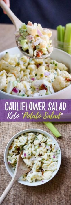 This Keto Cauliflower Salad recipe is the perfect summer time BBQ side dish packed with flavor and crunch in every bite!