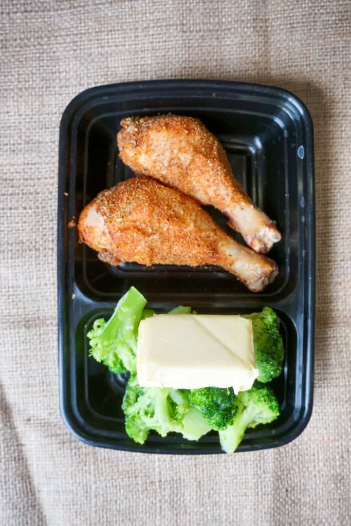 Pastured Drumsticks and Broccoli are one of our many keto meals that can be made from walmart! They can be used as meal prep, and stuck in the fridge for later in the week!