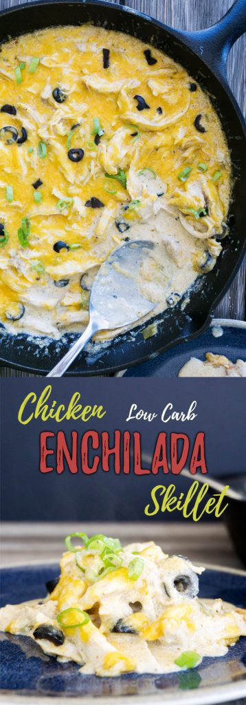 Our easy keto chicken enchilada casserole combines the flavors of a Mexican spice blend, creamy sour cream and green chilis to make this hearty, weeknight dinner recipe!