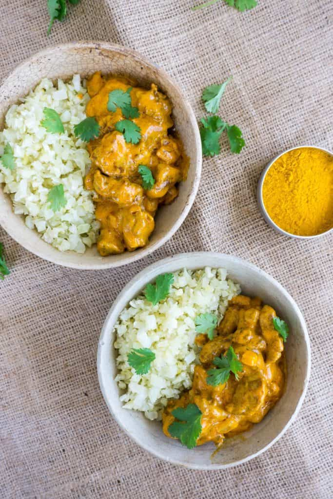 close up of two bowls of keto butter chicken