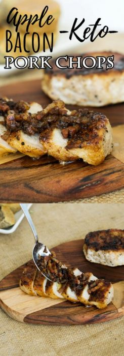 Make our keto Apple Pork Chops dressed with bacon, onions and ginger for a quick, hearty fall time dinner!