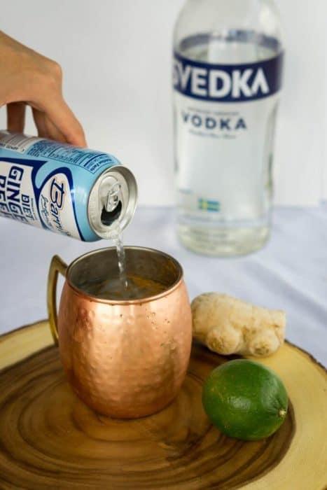 Apple Cider Vinegar moscow mule in a copper mug