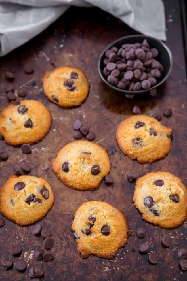 keto chocolate chip cookies on a tray