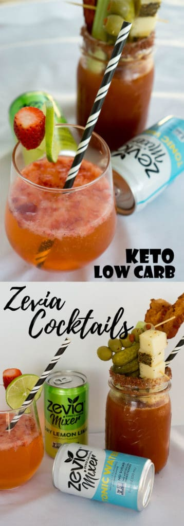 We made two delicious and easy Low Carb Cocktails using the new Zevia cocktail mixers, perfect for celebrating all year round!