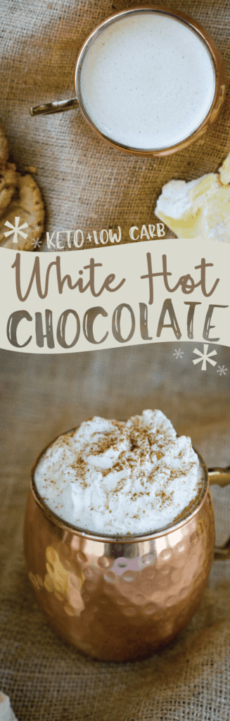 Our keto White Hot Chocolate recipe uses cacao butter for the perfect holiday drink that the whole family will love!