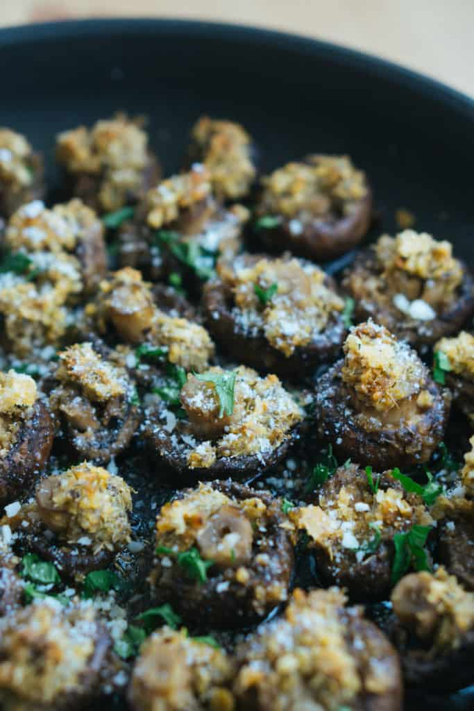 These parmesan garlic oven roasted mushrooms are a great keto side dish to serve alongside dinner or appetizer for you next party!