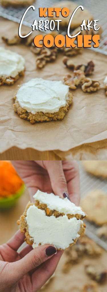 This keto carrot cake cookie recipe is the the perfect combination of sweet maple flavor and crunch from the walnuts and carrots!