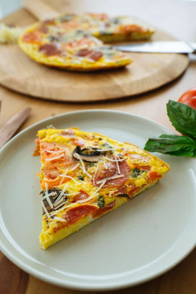 This Pizza Frittata recipe is a delicious combination of eggs and pizza and is perfect for any meal of the day!