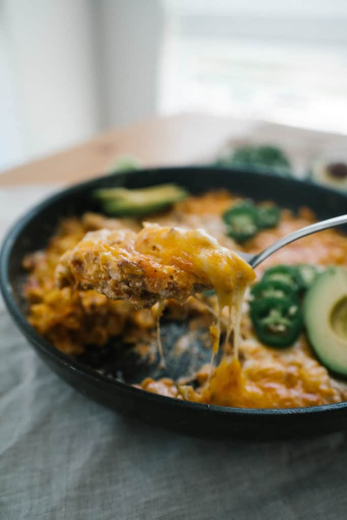 This low carb Chorizo Dip is the perfect one skillet meal or appetizer to serve at your next family dinner or game night!