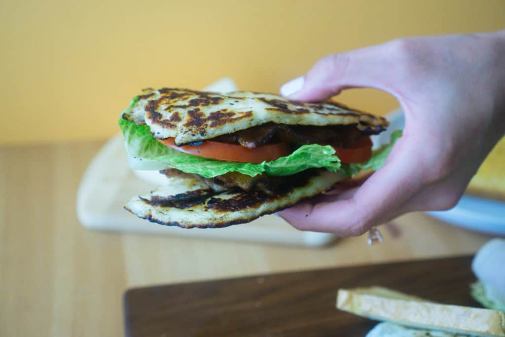 Our keto halloumi blt uses thick slices of halloumi as the bread and is a great addition to any picnic or lunch!