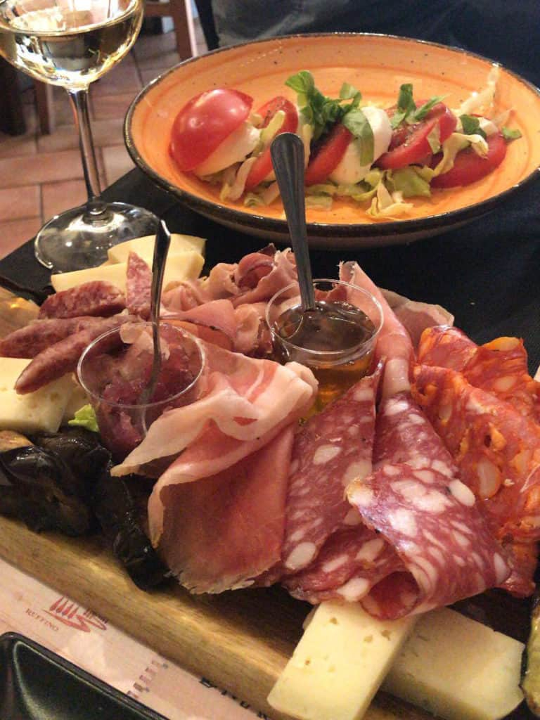 This delicious cheese and meat board is the perfect keto friendly meal to have in rome! It is low carb and delicious!