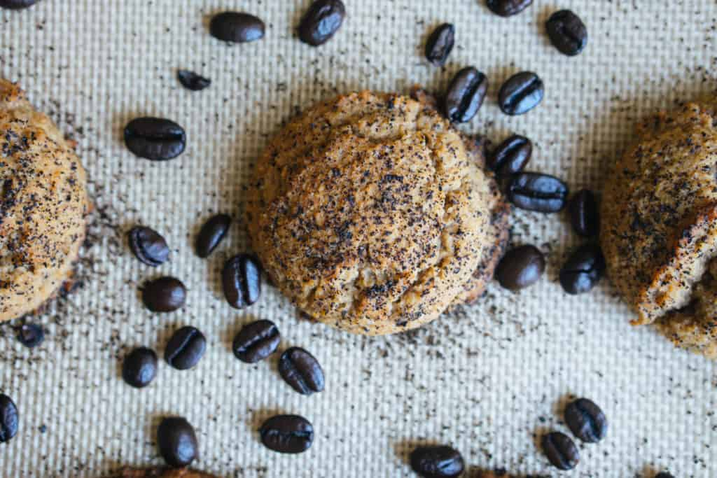 espresso cookie with coffee beans for decoration