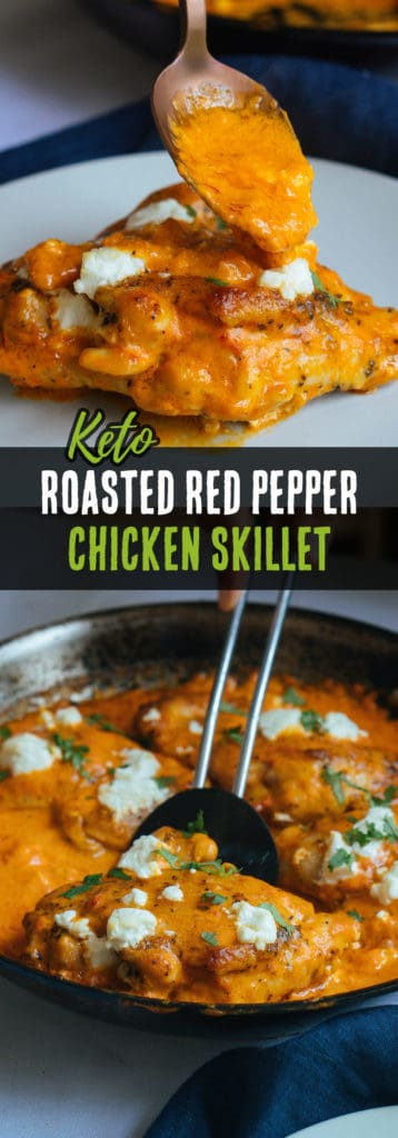 This Keto Chicken Thighs recipe is not only simple to make, but is packed with flavor from roasted red peppers and creamy goat cheese!