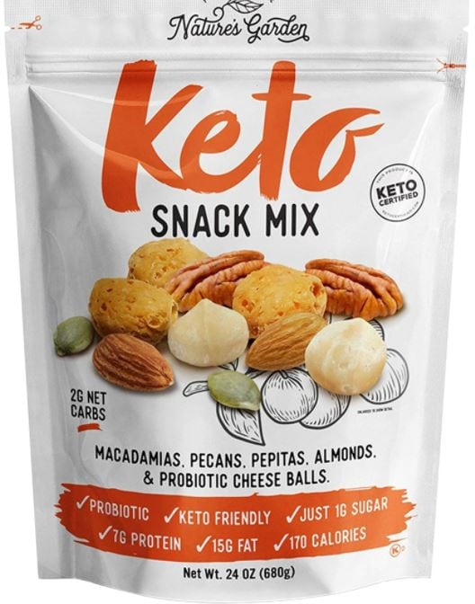 a package of natures garden keto snack mix