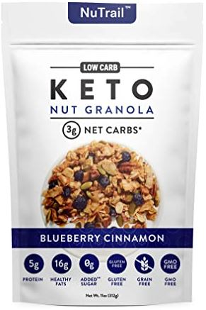 a package of nutrail keto granola blueberry cinnamon flavor