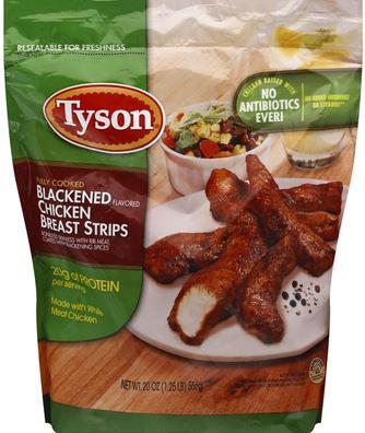 big package of tyson blackened chicken strips