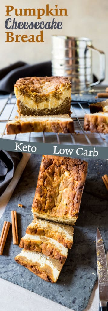 This Low Carb Pumpkin Loaf has a thick ribbon of cheesecake running through the center and is the perfect healthy replacement for pumpkin pie this holiday season!