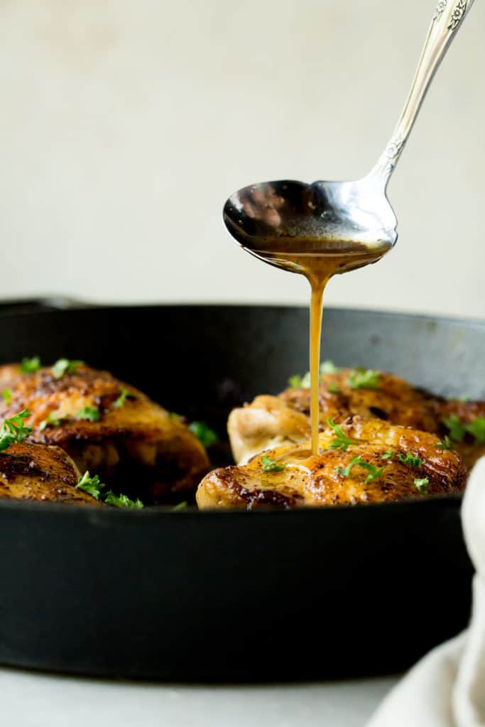 Our Keto One Pan Chicken Thighs are served in a lemon sauce and perfectly tender making them a great dinner for any night of the week!